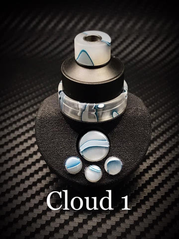 BMM Lathe Turned Accessories - Cloud 1 (Cloudy, Translucent White, Blue)