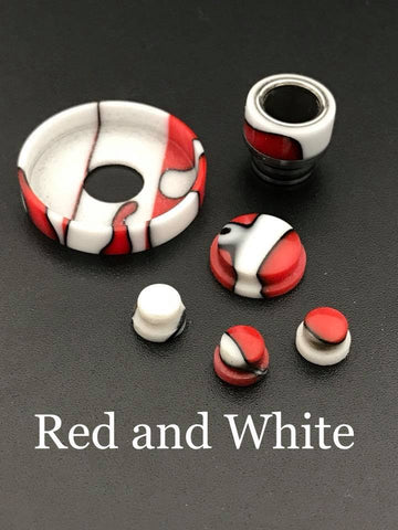 BMM Lathe Turned Accessories - Red and White (Red White)