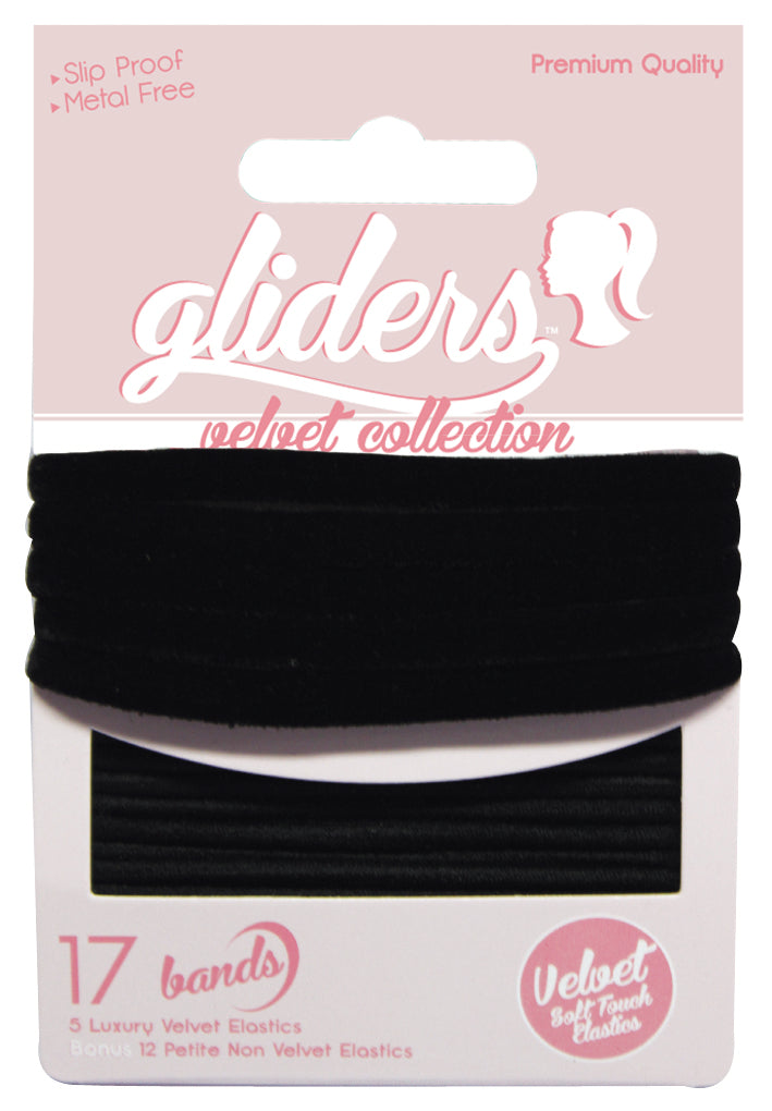 Gliders Velvet Collection 17pc - Black
