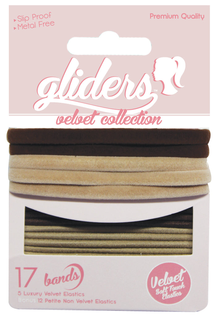 Gliders Velvet Collection 17pc - Brown/Blonde