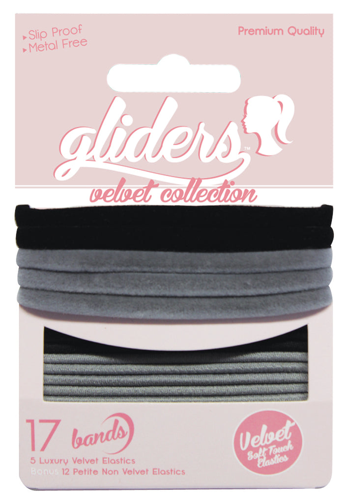 Gliders Velvet Collection 17pc - Black/Grey