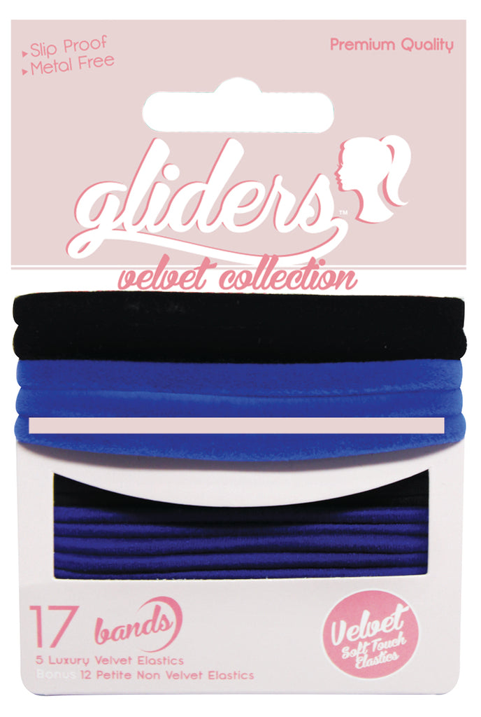 Gliders Velvet Collection 17pc - Black/Blue