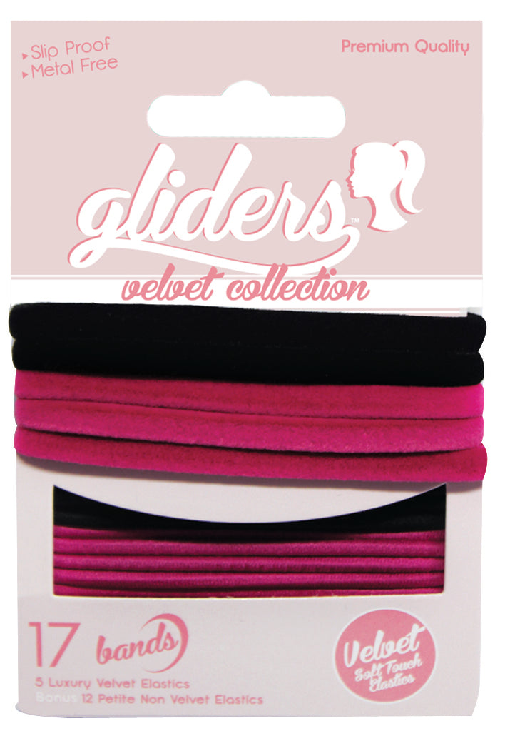 Gliders Velvet Collection 17pc - Black/Pink