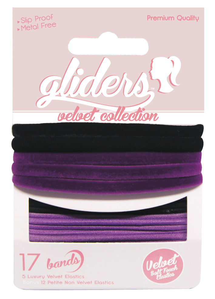 Gliders Velvet Collection 17pc - Black/Purple