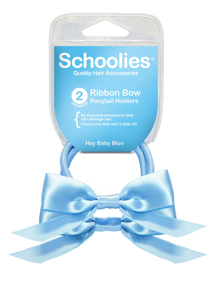 Schoolies Ribbon Bows 2pc - Hey Baby Blue
