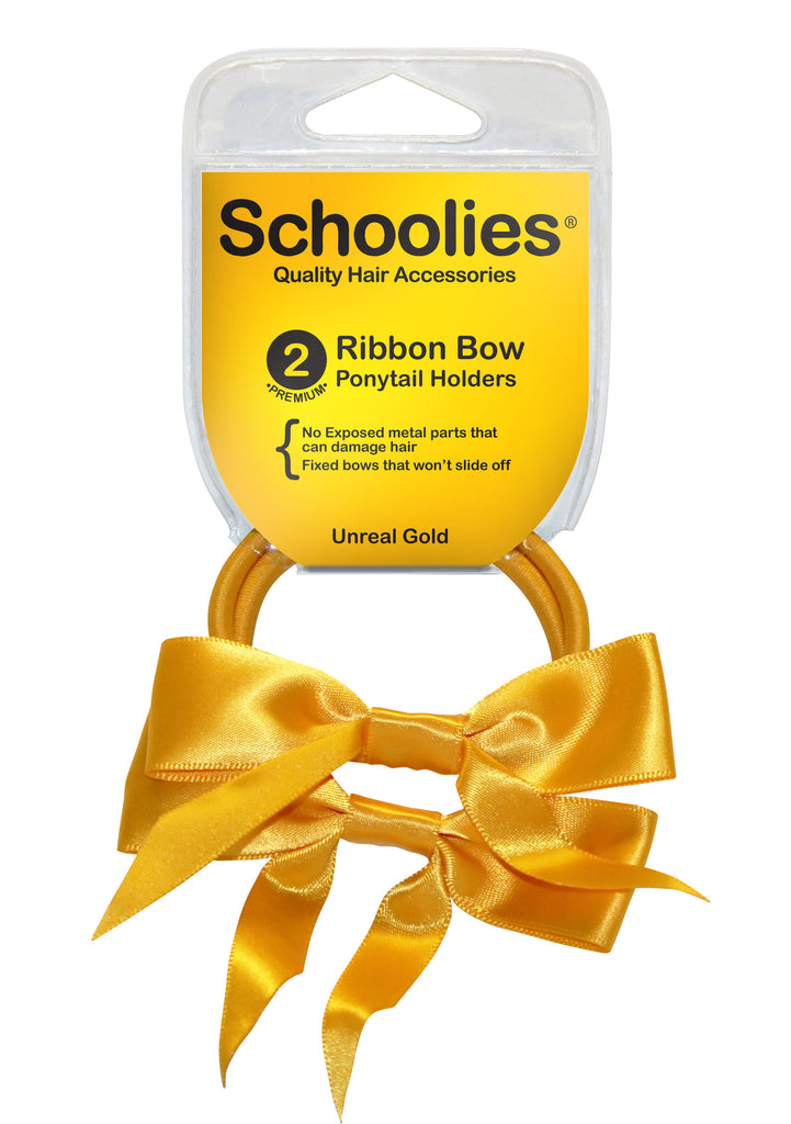 Schoolies Ribbon Bows 2pc - Unreal Gold