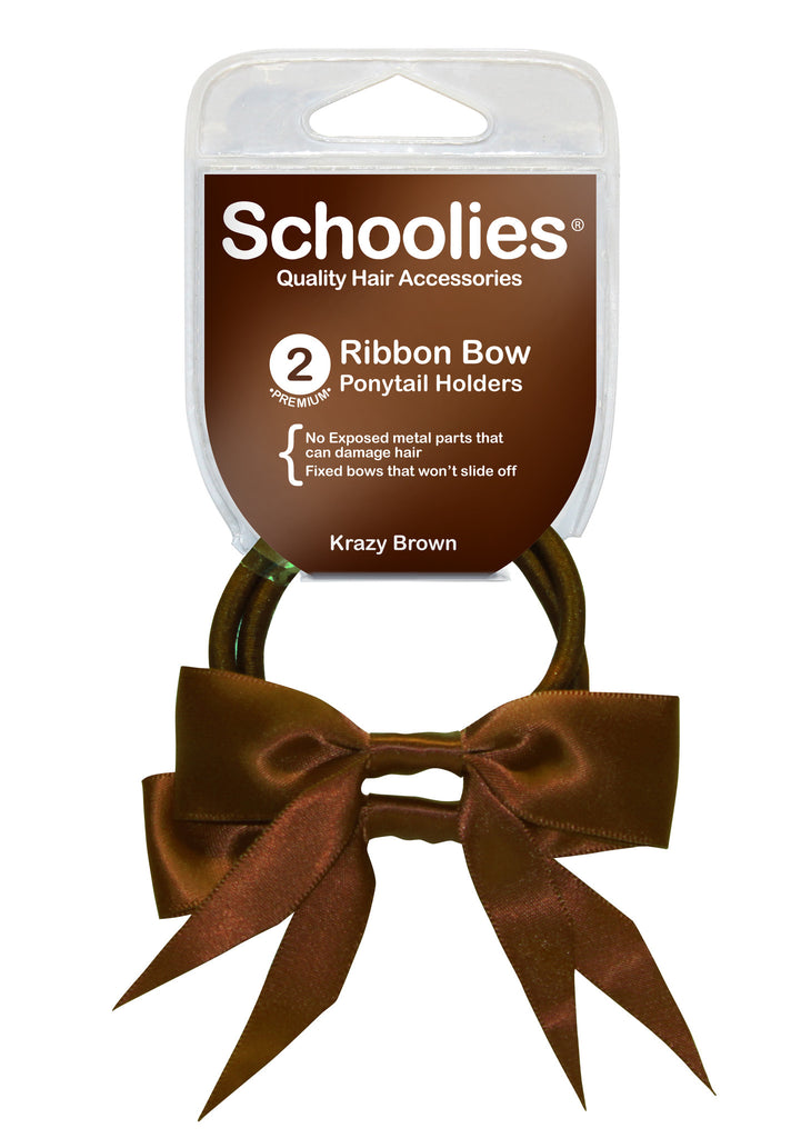 Schoolies Ribbon Bows 2pc - Krazy Brown