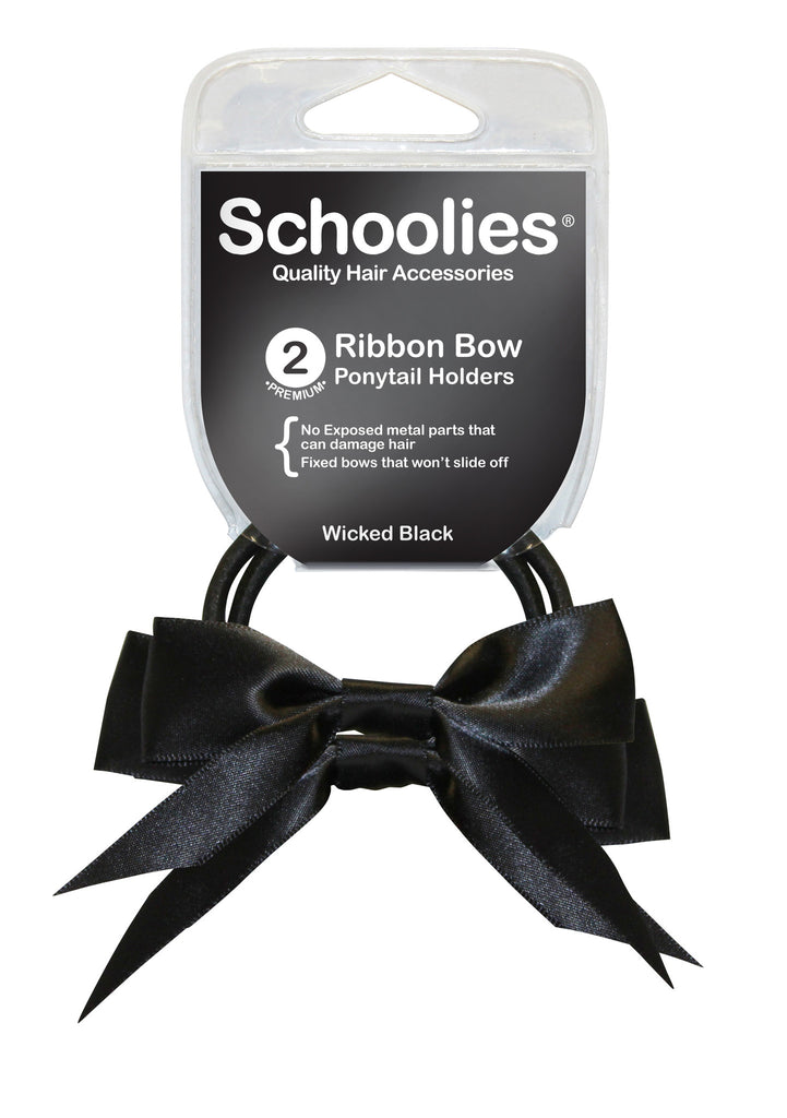 Schoolies Ribbon Bows 2pc - Wicked Black