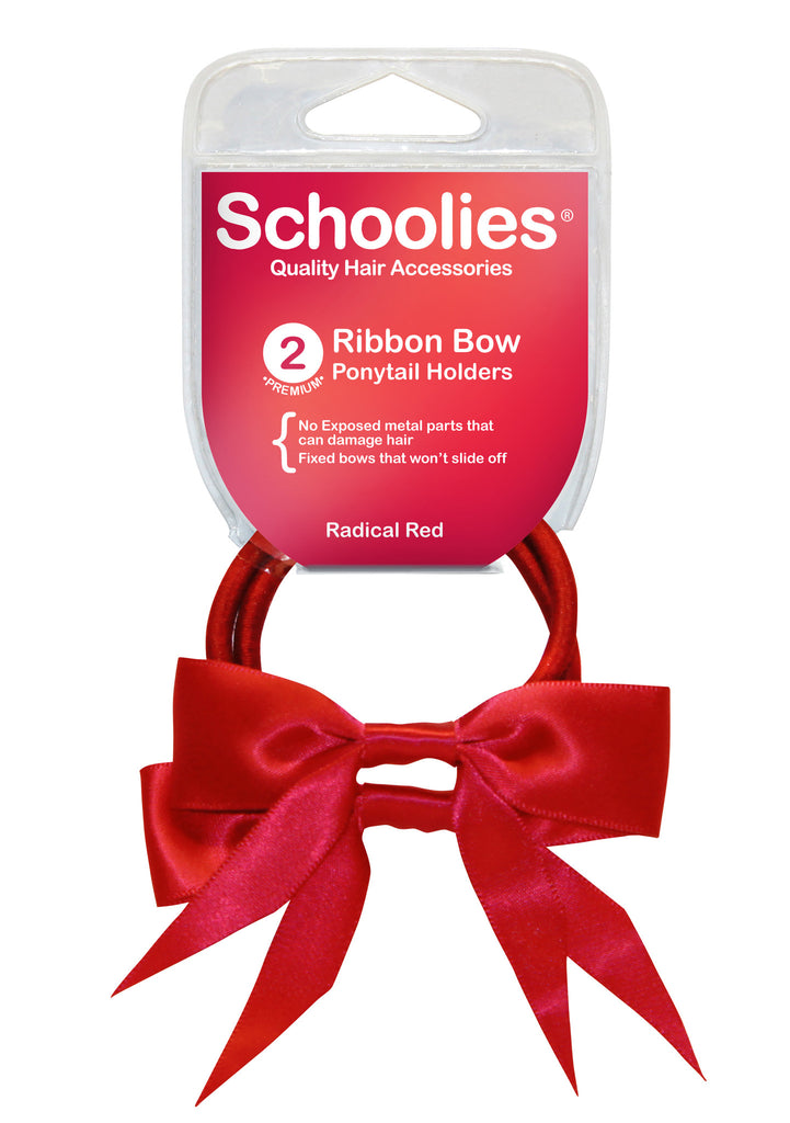 Schoolies Ribbon Bows 2pc - Radical Red