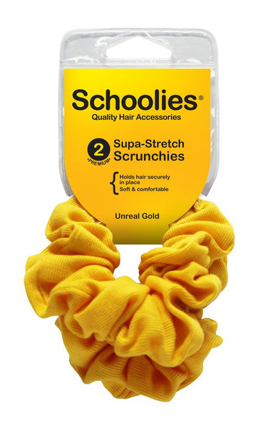 Schoolies Supa-Stretch Scrunchies 2pc - Unreal Gold