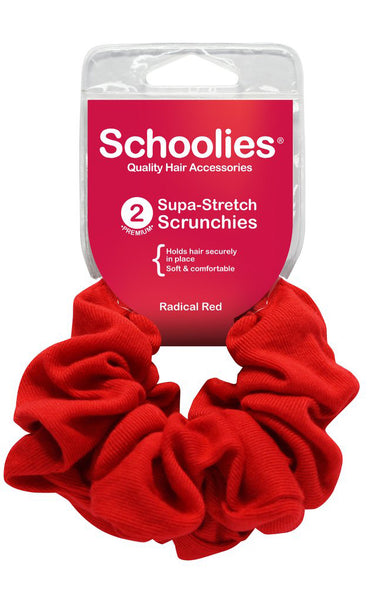 Schoolies Supa-Stretch Scrunchies 2pc - Radical Red