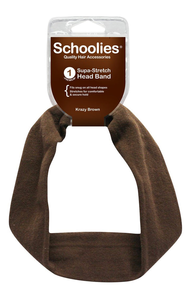 Schoolies Supa-Stretch Headband 1pc - Krazy Brown