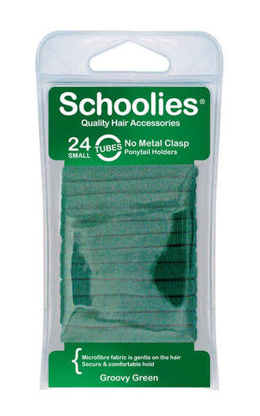 Schoolies Tubes Ponytail Holders 24pc - Groovy Green
