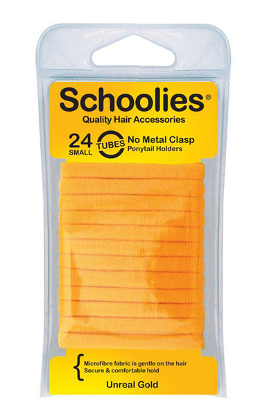 Schoolies Tubes Ponytail Holders 24pc - Unreal Gold