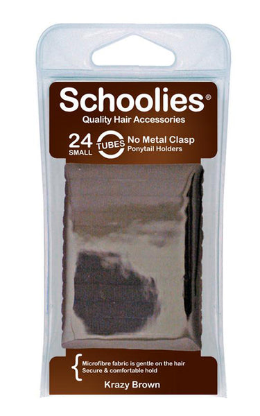 Schoolies Tubes Ponytail Holders 24pc - Krazy Brown
