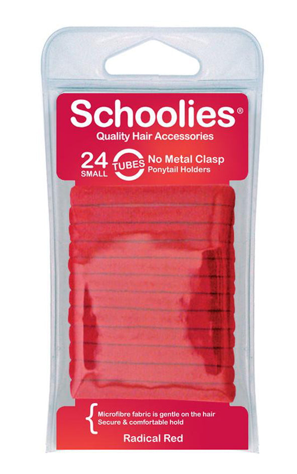 Schoolies Tubes Ponytail Holders 24pc - Radical Red