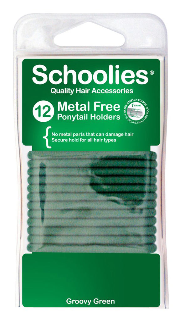 Schoolies Metal Free Ponytail Holders 12pc - Groovy Green