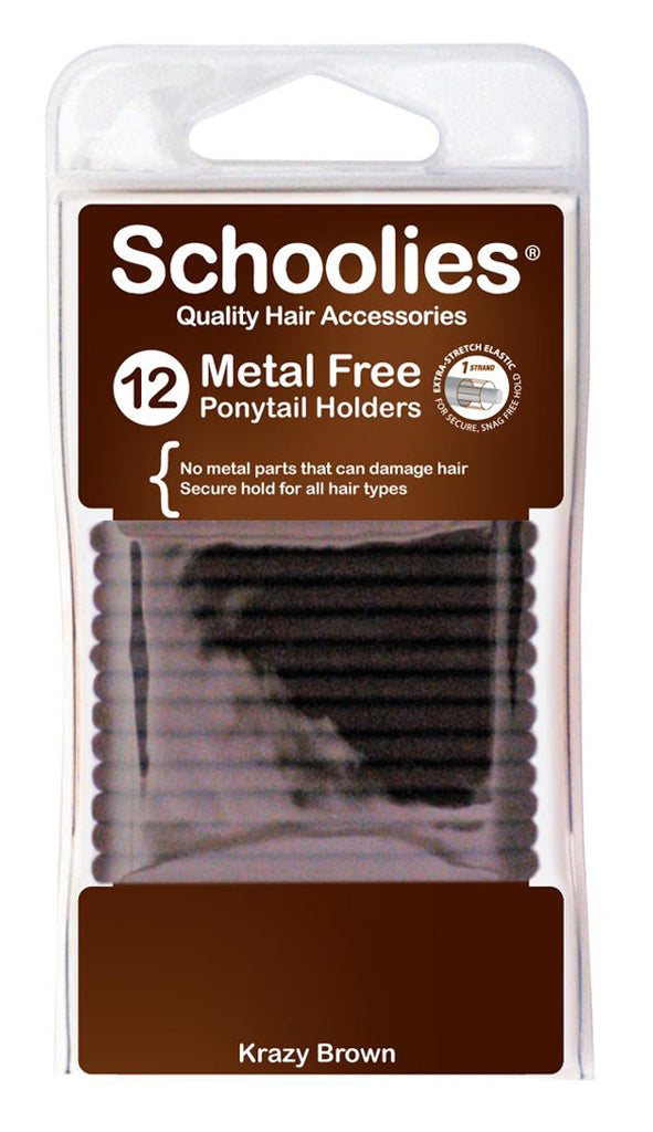 Schoolies Metal Free Ponytail Holders 12pc - Krazy Brown