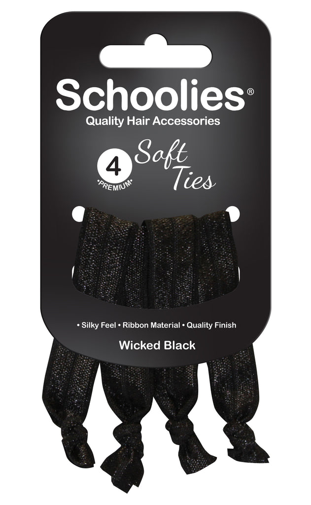 Schoolies Soft Ties 4pc - Wicked Black