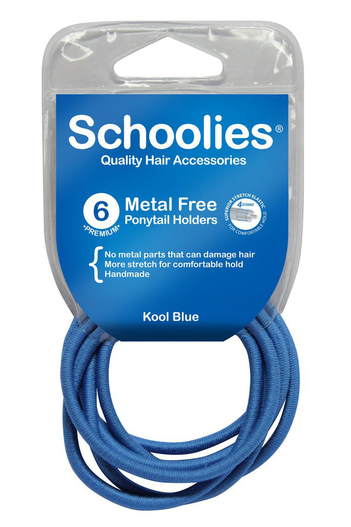 Schoolies Metal Free Ponytail Holders 6pc - Kool Blue