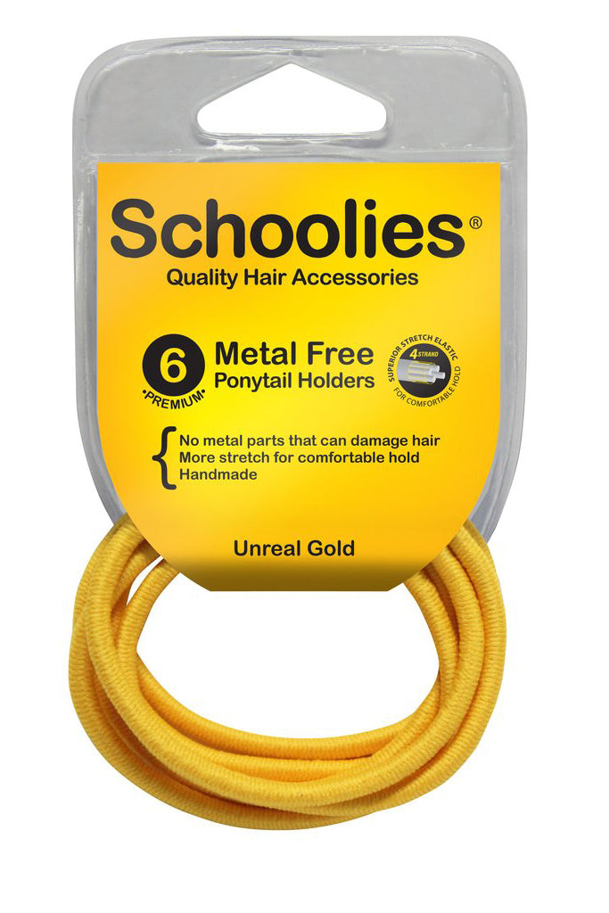 Schoolies Metal Free Ponytail Holders 6pc - Unreal Gold