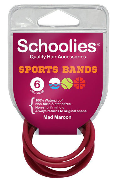 Schoolies Sports Bands 6pc - Mad Maroon