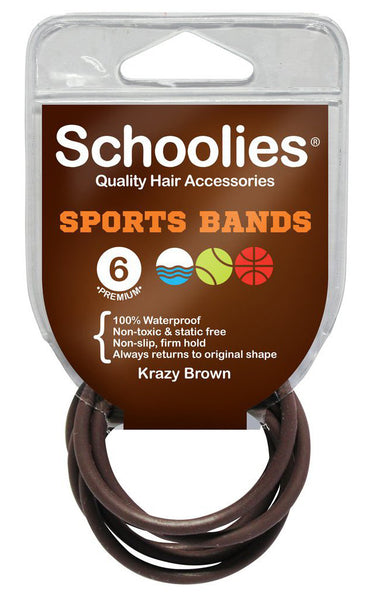 Schoolies Sports Bands 6pc - Krazy Brown