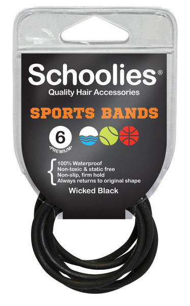 Schoolies Sports Bands 6pc - Wicked Black