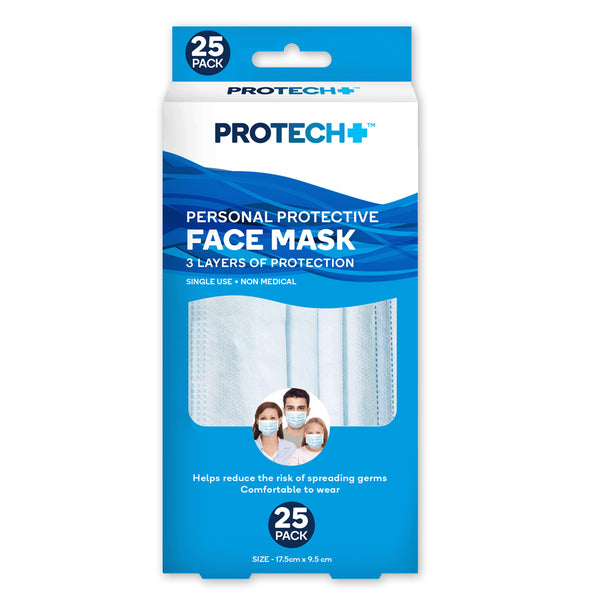 Protech Disposable Face Mask - 25 Pack