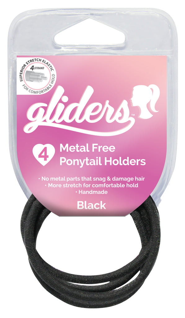 Gliders Premium Metal Free Ponytail Holders 4pc - Black
