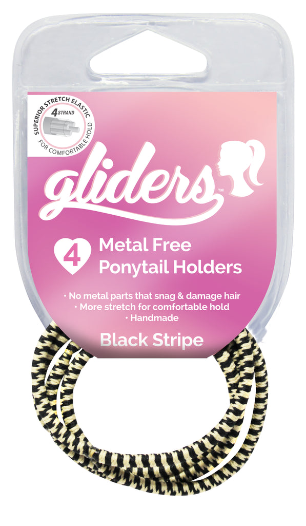Gliders Premium Metal Free Ponytail Holders 4pc - Black Stripe