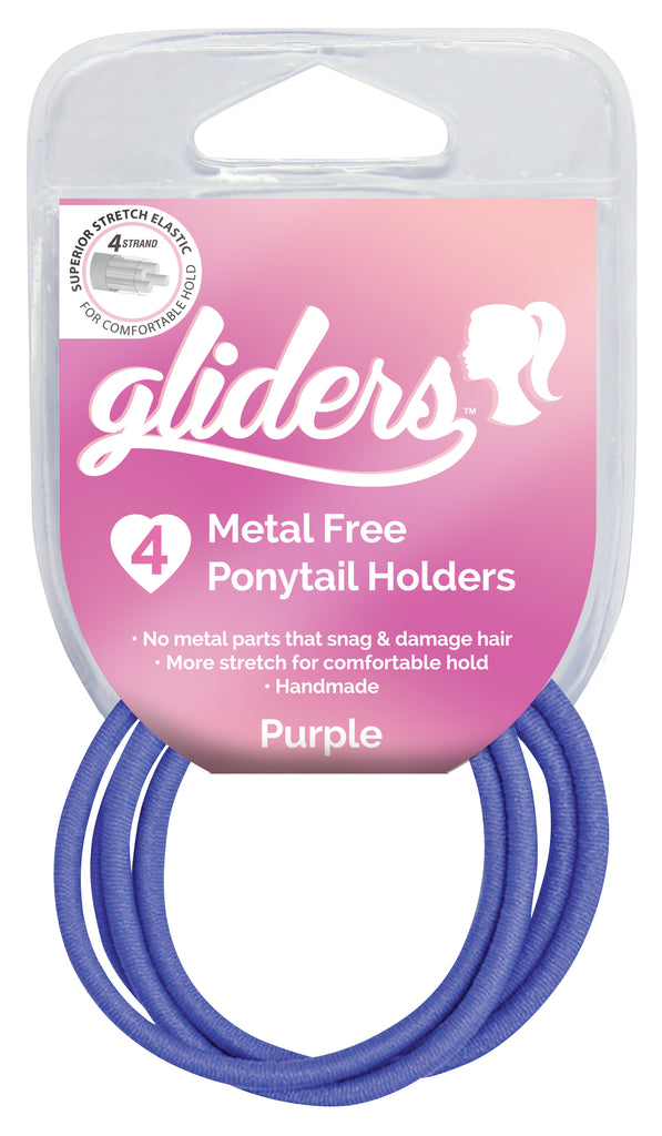 Gliders Premium Metal Free Ponytail Holders 4pc - Purple