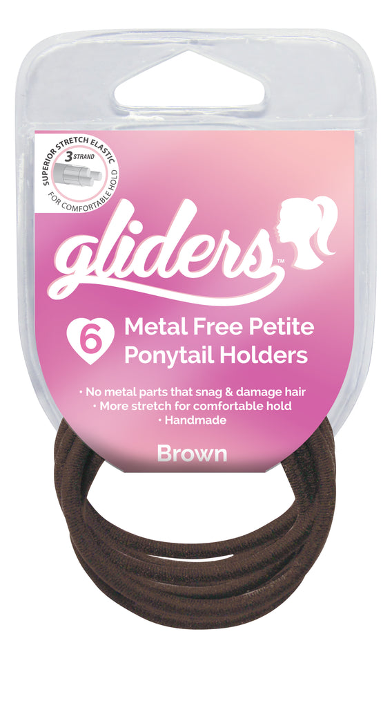 Gliders Premium Metal Free Petite Ponytail Holders 6pc - Brown