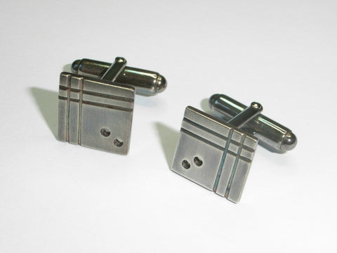 """Mondrian-esque"" Geometric Cufflinks in Sterling Silver 