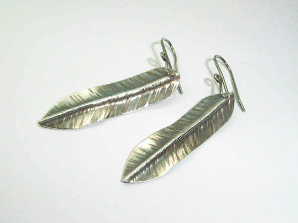 "Fine Silver ""Feather"" Earrings 