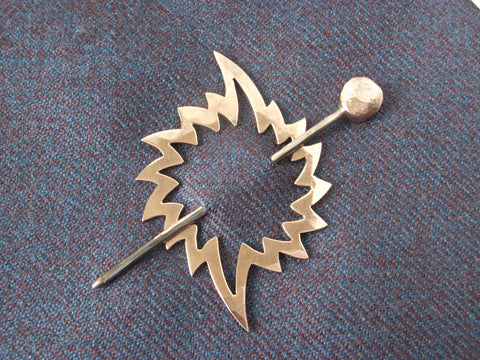 """Sun & Earth"" Copper Shawl Pin / Hair Barrette 