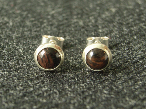 Mahogany Obsidian & Sterling Silver Stud Earrings | Handmade in Scotland – Jewellery by Callum Kilts