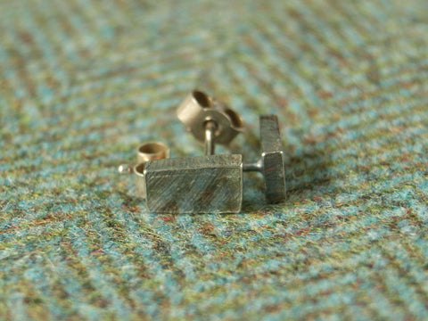 Rough Silver Ingot Stud Earrings - Short | Handmade in Scotland – Jewellery by Callum Kilts