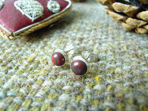 Snakeskin Jasper & Sterling Silver Stud Earrings