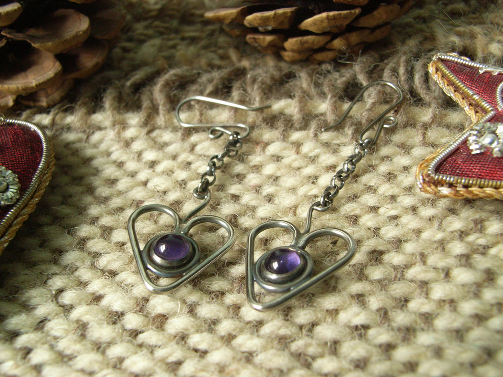 "Amethyst & Sterling Silver ""Heartberry"" Earrings"