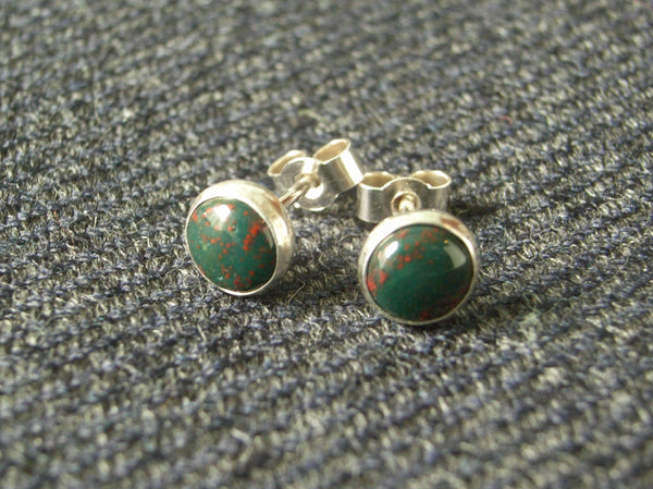 Bloodstone & Sterling Silver Stud Earrings