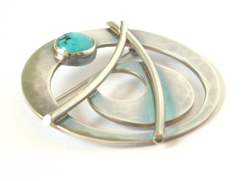 "Sterling Silver & Turquoise ""Circles"" Brooch"
