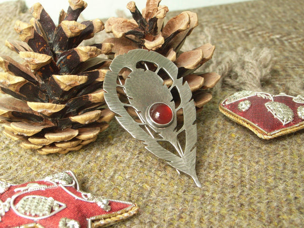 "Sterling Silver ""Exotic Feather"" Brooch set with Carnelian"