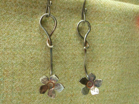"Cute ""Flower"" Earrings in Fine Silver"