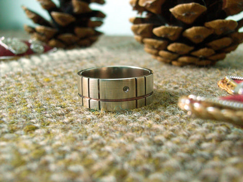 """Modrian-esque"" Geometric Silver Ring"