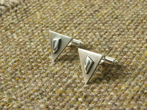 Triangular Geometric Silver Cufflinks - Contrasting Brushed and Polished Finish