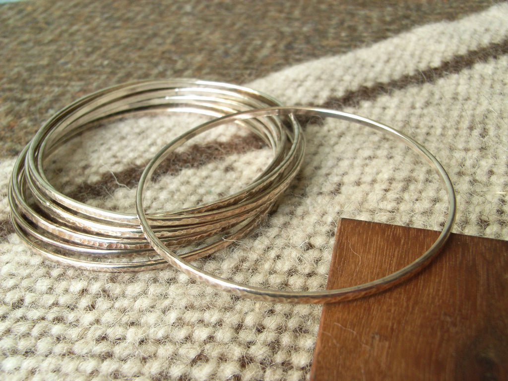 Hammered Silver Stacking Bangle