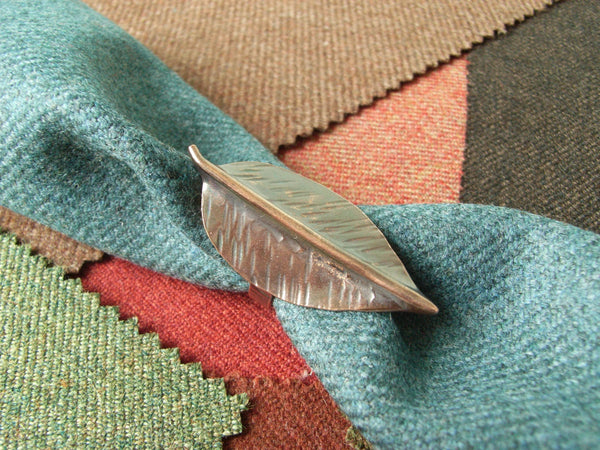 """Autumn Leaf"" Copper Scarf Slide - ""Ash"" 