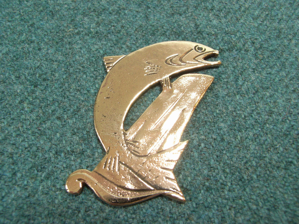 """Salmon"" - Scottish Kilt Pin / Brooch in Bronze 