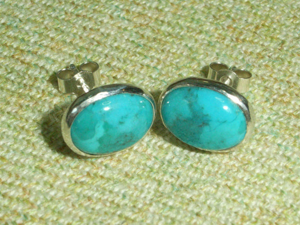 Turquoise & Sterling Silver Oval Stud Earrings | Handmade in Scotland – Jewellery by Callum Kilts